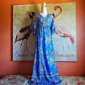 Flying Tomato Floral Maxi Dress Blue V Neck Large